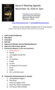 General Meeting Agenda November 19, 2020 at 7pm